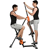 2 in 1 Vertical Climber Gym Exercise Fitness Machine Stepper, Adjustable Height Climbing Cardio Workout Training non-stick grips Legs Arms Abs Calf