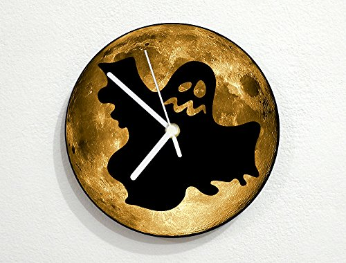 llow Full Moon - Scary Trick Or Treat - Universe Stars Space Galaxy Solar Planet - Custom Name Wall Clock ()