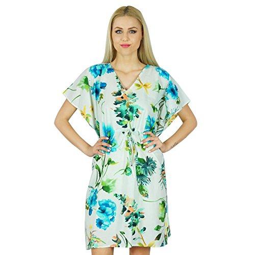 Bimba Femmes court Floral Cotton Kaftan manches kimono Coverup Summer Blanc Caftan Blanc