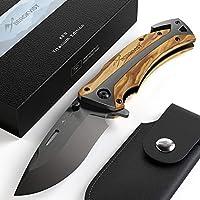 BERGKVIST Couteau de poche K29 Titanium 3-en-1 Couteau pliant I Couteau de survie avec manche en bois I Couteau de chasse avec étui à couteau & pierre d'affûtage