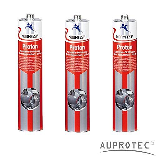 Auprotec® Normfest Karosseriedichtmasse Proton 310ml 1K Kleber überlackierbar schwarz, 3 Kartuschen (Auto-farbe Putty)