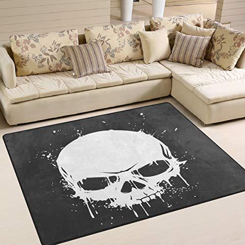 Use7 Grunge Sugar Skull Day of The Dead Halloween Area Rug Rug Rug Mat for Living Room Bedroom, Textil, Multi, 203cm x 147.3cm(7 x 5 feet)