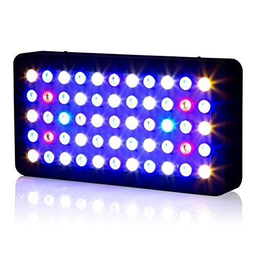 Roleadro 165w LED Aquariumbeleuchtung Dimmable für Fisch Riff Korallen Led Meerwasser Beleuchtung fur Fish Tank und Nano Aquarium 40x21x6cm Schwarz