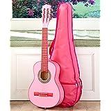 Kids Wood Guitar W/Case-Pink