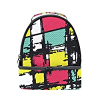 ALINLO Abstract Graffiti Painting Lunch Bag Insulated Tote Box with Adjustable Shoulder Strap for Pincnic School