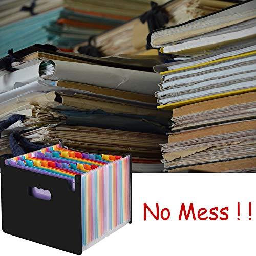 grande capacit/à S/&G Top Expanding File Folder Documenti A4 portatili Borsa di stoccaggio Organizzazione di documenti cartacei in plastica Organizzatore di file Rainbow 24 tasche Stand Self