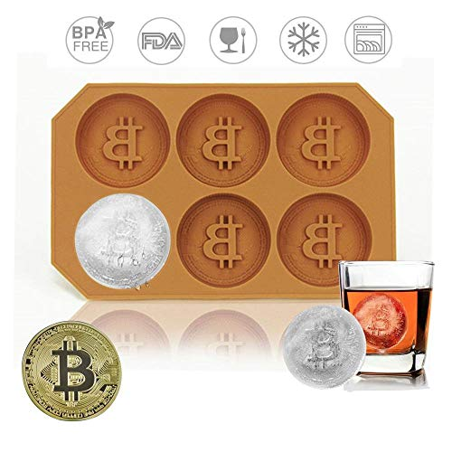 Eulan Silicone Bitcoin Ice Cube Trays Silicone Coin Ice Cream Moulds Maker Creative Milk Juice Chocolate Mold for Cocktails Whiskey Party (Coffee)