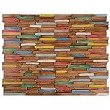 Festnight Wandverkleidung Wandpaneele 10 STK. 1 m² Teak mit recycelter Holzoptik