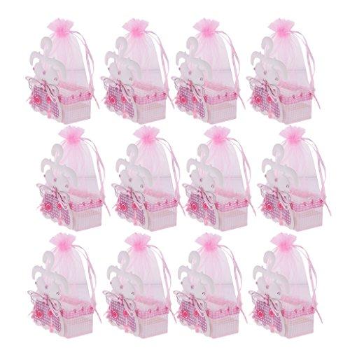 MagiDeal 12 x Baby Party Geschenkbeutel-Säckchen - Rosa - Süßigkeiten Baby-dusche-bevorzugung