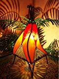 Orientalische Tischlampe Emel 37cm Lederlampe Hennalampe Lampe | Marokkanische kleine Tischlampen aus Metall, Lampenschirm aus Leder | Orientalische Dekoration aus Marokko, Farbe Orange, Natur, Rot