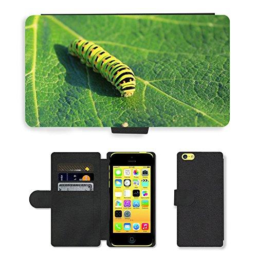 Just Mobile pour Hot Style Téléphone portable étui portefeuille en cuir PU avec fente pour carte//m00138235Caterpillar vert feuille lépidoptères//Apple iPhone 5C