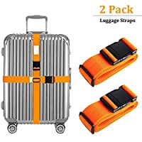 """AVESON Pack of 2 Luggage Straps, 200cm Long Adjustable Luggage Strap Belts Travel Bag Accessories For 20""""-32"""" Suitcase, Orange"""