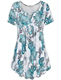 Bebonnie Damen Floral Bluse, Henley V-Ausschnitt Kurzarm Lässige Paisley Print-Muster Lose Passende Womens T Shirts Top Grün Grau X-Large