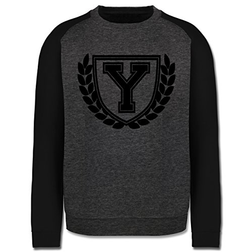 Anfangsbuchstaben - Y Collegestyle - Herren Baseball Pullover Dunkelgrau Meliert/Schwarz