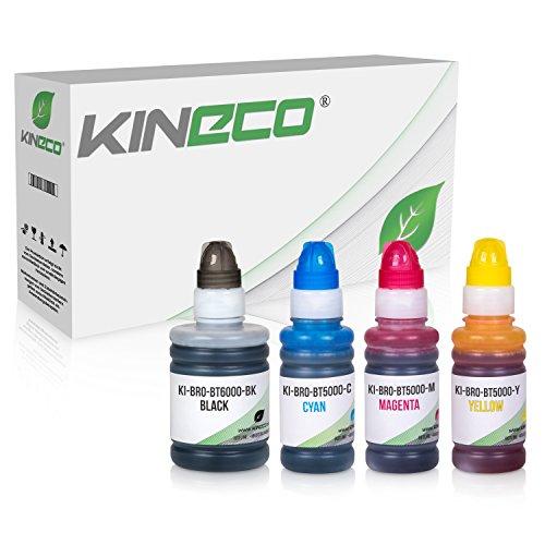 Preisvergleich Produktbild Kineco 4 Tintenbehälter kompatibel zu Brother BT6000 BT5000 für Brother DCP-T300 T500W T700W MFC-T800W