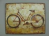 linoows Nostalgie Blechschild, Damen Fahrrad, Technik, WC Wandschild 20x25
