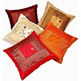 En el empresas Indian Ethnic bordado a mano decorativo seda Funda de cojín Set de 5piezas.