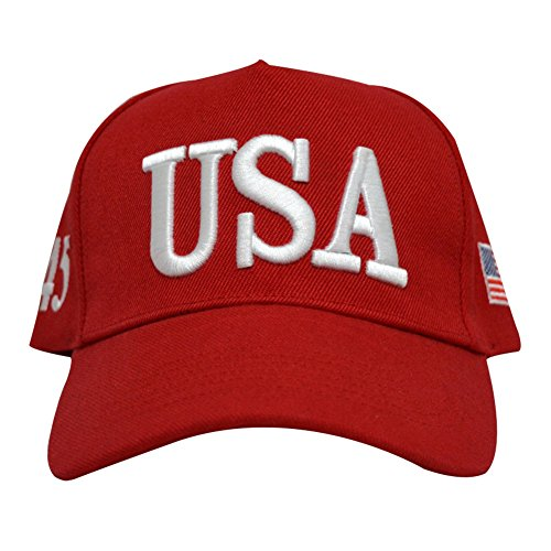 RosewineC USA Baseball Cap Polo Style Adjustable Embroidered Dad Hat American Flag for Men and Women(red) (Cap Usa Baseball)