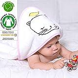 Bio-Baby-Kapuzenhandtuch, 100%GOTS-zertifiziert, besonders weich, geeignet für Neugeborene bis zu 2Jahren, Größe 75cm x 75cm, 400g/m², Frottier-Handtuch, Katze und Vogel