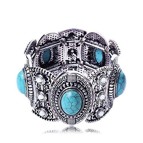 QIYUN.Z Antique Silver Turquoise Retro Tribal Style Cuff Bangle Bracelet
