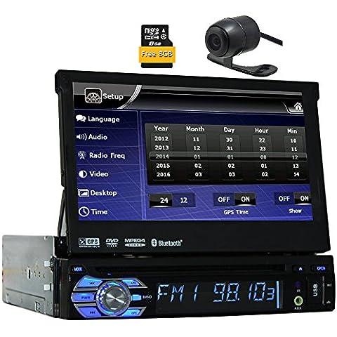 Eincar AUDIO BV9976B DIN simple motorizado pantalla t¨¢ctil de 7 pulgadas reproductor de DVD desmontable del receptor de radio del coche del panel est¨¦reo Bluetooth remoto inal¨¢mbrico de 8 GB de navegaci¨®n GPS + libre de la