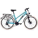 "26"" Zoll Alu Trekking City MIFA Fahrrad Damen Rad Bike Shimano 21 Gang Disc blau"