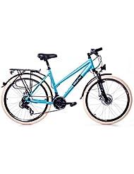 """MIFA - Bicicleta de montaña y ciudad para mujer, 26"""", aluminio, cambio de 21 velocidades Shimano, color azul"""