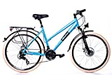 26' Zoll Alu Trekking City MIFA Fahrrad Damen Rad Bike Shimano 21 Gang Disc blau