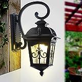 DGF Lámpara de Pared Impermeable al Aire Libre (Negro/Bronce), lámpara de Pared Retro del Canal del jardín, luz del balcón del Pasillo del LED (Color : Black-45 * 26cm)
