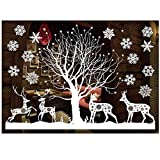 ODJOY-FAN Weiß Entfernbar Fenster Aufkleber Weihnachten Wandtattoos Restaurant Einkaufszentrum Dekoration Wandbilder Schnee Glas Wandaufkleber(B,1 PC)