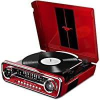 ION Audio Mustang LP In 4-in-1 Classic Car-Styled Retro Music Centre with Turntable, Radio, USB and Aux inputs, Plus Room-Filling On-Board Stereo Speakers, Vibrant Red Finish