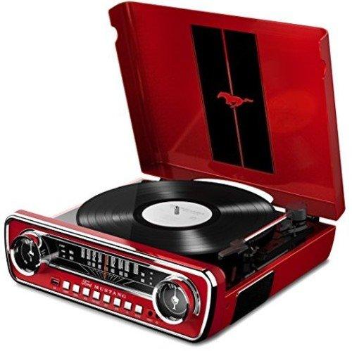 ION Audio Mustang LP Rot 4-in-1 Music Center im Muscle Auto Design mit Plattenspieler, Radio, USB und Aux-Eingang - Eingebaute Lautsprecher