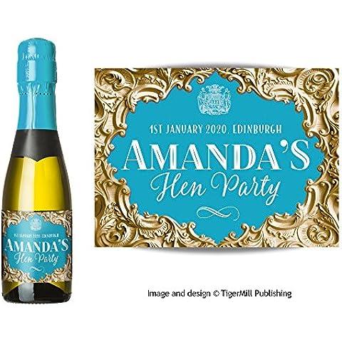 Confezione da sei personalizzato Mini Champagne (200ml) o Mini bottiglia di vino (187ml) Etichette oro, effetto barocco, matrimonio, addio al nubilato, anniversario, fidanzamento, ogni occasione regalo Gold / Blue