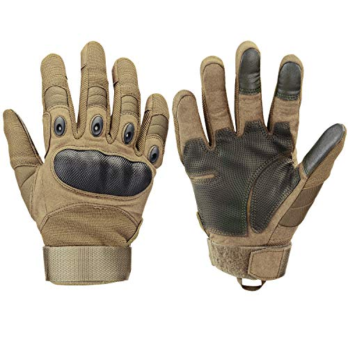 Xnuoyo Gomma dura Knuckle Full Finger e Mezza Finger Gloves Guanti di protezione Touch Screen Guanti per Moto Ciclismo Caccia Arrampicata Camping (Marrone, Medium)