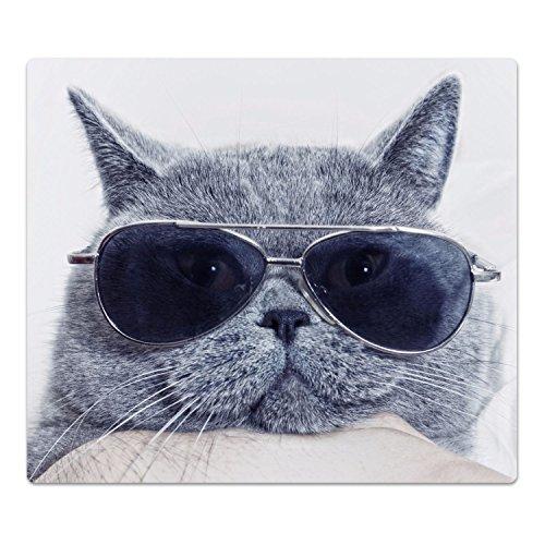 DekoGlas Herdabdeckplatte inkl. Noppen 'Britische Katze', gehärtetes Glas, Herd Ceranfeld Abdeckung, einteilig universal 52x60 cm
