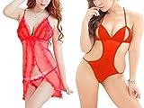 Billebon- Women Black Nightwear Babydoll Dress with G-String Panty (L11 - Red-L9 - Red)
