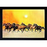SAF H004J Seven Running Horses||vastu Painting For Home And Office||Seven Lucky Running Horses Painting || 7 Horses Painting ||seven Horses||vastu Horses||Shyam Art 'N' Frame Exclusive Framed Wall Art Paintings(Wood,35cmx 2Cmx 50Cm Framed Painting)