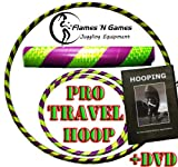Pro Hula Hoop Reifen Erwachsene + Hooping DVD (Lila/Gelb UV) Faltbarer Travel Hula Hoop für Training u. Tanz HoopDance - Größe 100cm, Gewicht 650g