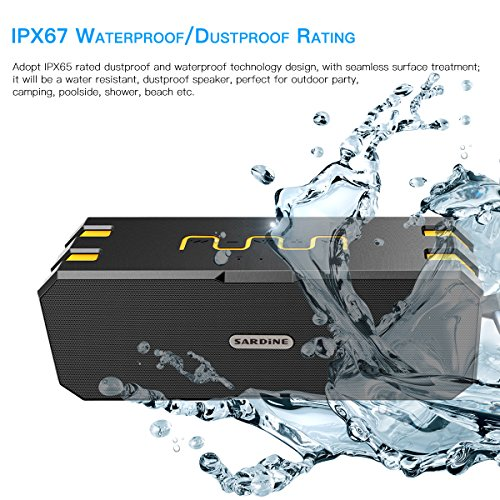 Bluetooth Lautsprecher, Wirezoll Wasserdicht 12W Speaker mit 5200mAh Batterie, Schwarz & Rot ( Bass Verstärker , IP65 Wasserfest , Staubdicht , Stoßfest , Freisprecheinrichtung ,TF Karte Unterstützt ) Schwarz & Gelb - 2