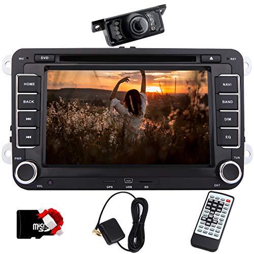 EINCAR 7-Zoll-Doppel-DIN-Autoradio Bluetooth mit DVD-Player Autoradio Sat NAV mit freier Karte Card + CANBUS Support Telefon Spiegel, SWC, Subwoofer, AUX, Cam-in, USB SD-FM/AM RDS-Radio (Wince