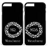 Unendlich Hochzeit Mr&Mrs Infinity 2x Hülle * Apple iPhone 5 6 7 Galaxy S5 S6 S7, Farbe & Namen:Schwarze Hülle + Namen, Handymodell:Gemischt