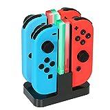 4 in 1 Joy-Con Muelle de carga, Nintendo Switch Joy-Con Cargador de pie y Titular de carga con Indicador LED individual. (Tipo C- Cable de carga USB incluido)