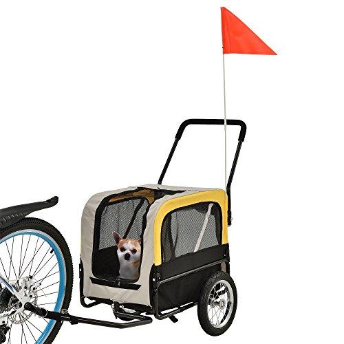 [pro.tec] Fahrradanhänger - Hundeanhänger - grau/gelb/schwarz - 107 x 56 x 97 cm - max. Belastbarkeit 25 kg