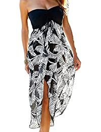 Uranus Women Summer Baggy Loose Slit Feather Print Slit Strapless Bardot Maxi Beach Dress Black