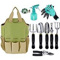 Herramienta de jardín organizador bolsa con 10 piezas herramientas de jardín, mejor Set de regalo de jardinería, verduras Kit de herramienta de jardín, herramientas de jardinería mano set bolsa