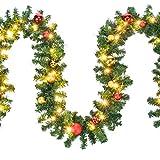 HI Tannengirlande aussen 5m - Grüne Girlande mit Lichterkette (80x LED), 5 Meter Girlande mit Licht und Kugeln als Weihnachtsdeko aussen