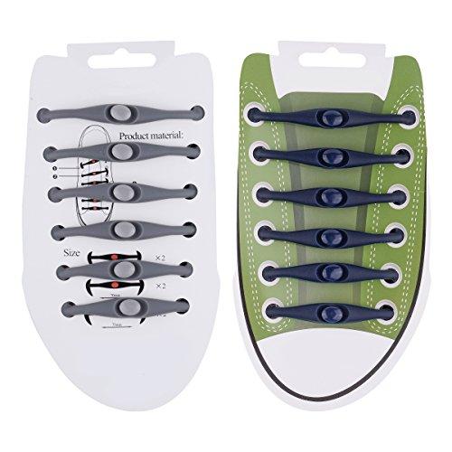Weiye 24kein Schuhe binden für Kinder und Erwachsene-Silikon Sport Elastic Athletic Running Schuh Schnürsenkel mit Multicolor für Sneaker-wasserdicht Sport Fan Schnürsenkel, Black + Gray