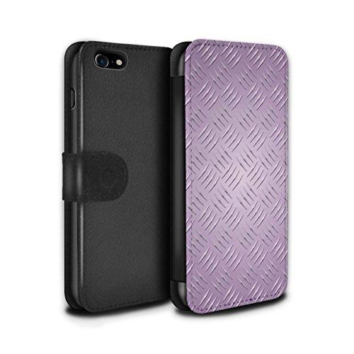 Stuff4 Coque/Etui/Housse Cuir PU Case/Cover pour Apple iPhone 8 / 5 Pack Design / Motif en Métal en Relief Collection Rose