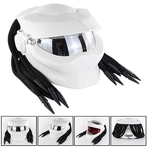 ocross-Helm, Motorrad-Kohlefaser-Predator mit Fransen-Zopf-Helm, Vier Jahreszeiten Herren- und Damenhelm, DOT-Sicherheitszertifiziert, Größe: L/XL,White,L ()