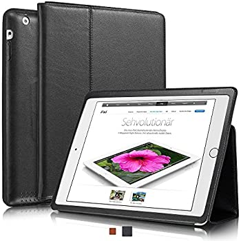 """KAVAJ leather case cover """"Berlin"""" for the new Apple iPad 4, iPad 3 and iPad 2 black - genuine leather with stand-up feature"""